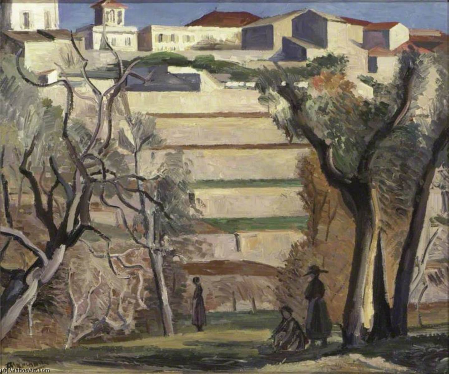 Les Terrasses, Oil On Canvas by Jean Hippolyte Marchand (1883-1940)