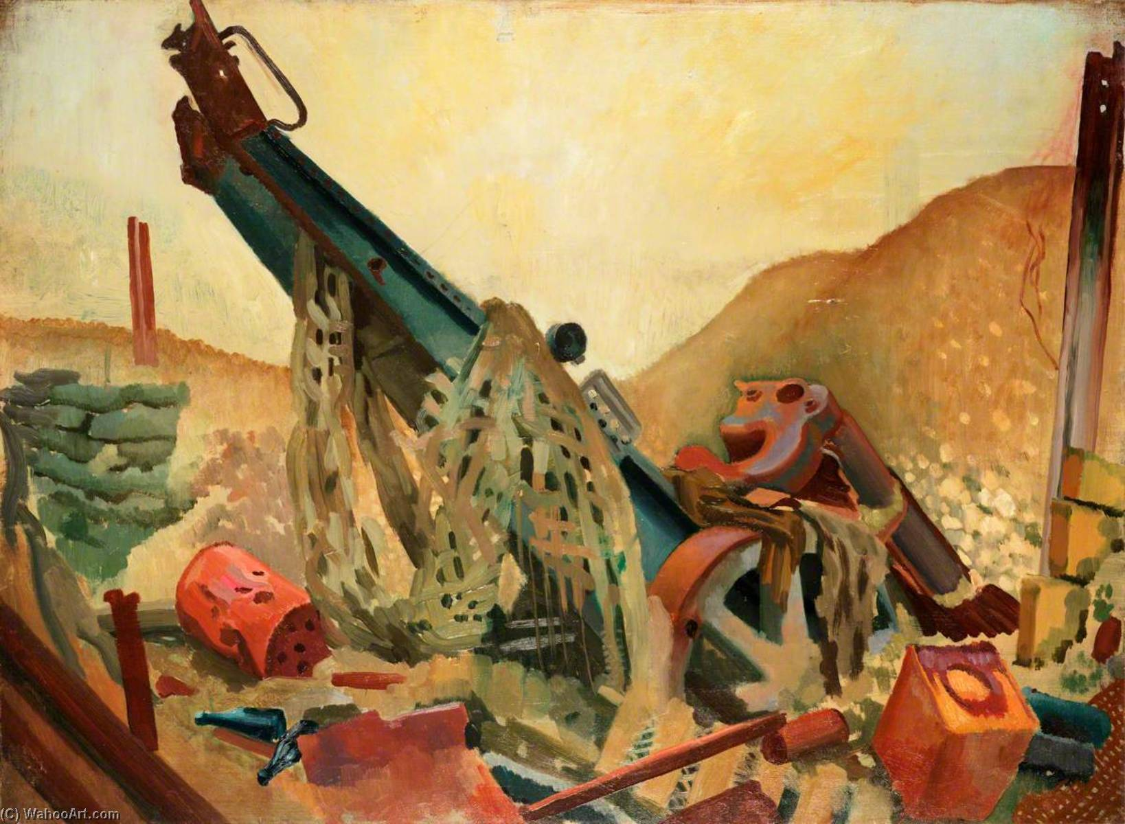 A Captured Howitzer at Fampoux, Oil On Canvas by Colin Unwin Gill (order Fine Art Print on canvas Colin Unwin Gill)