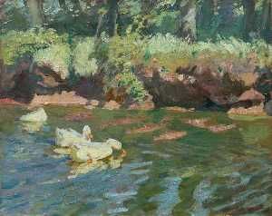 Charles Walter Simpson - Sunny Bank, Ducks Feeding