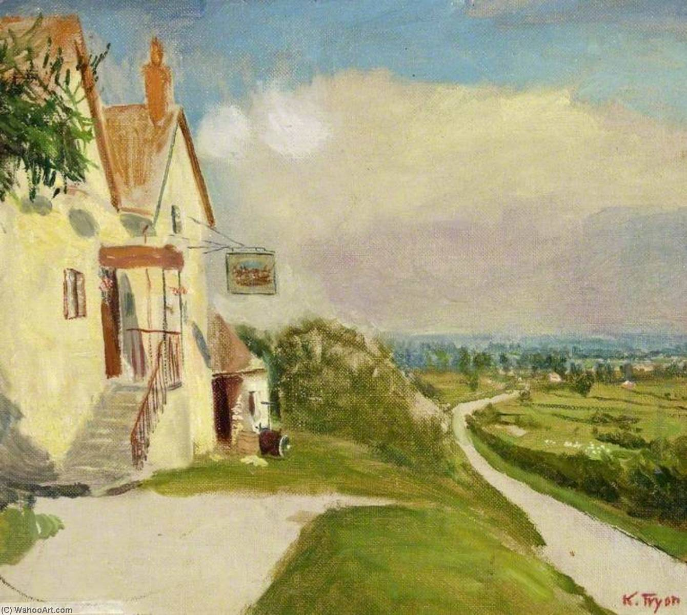 The `Plough Inn`, Chiseldon, Wiltshire, 1910 by Kate Allen Tryon | Museum Art Reproductions Kate Allen Tryon | WahooArt.com