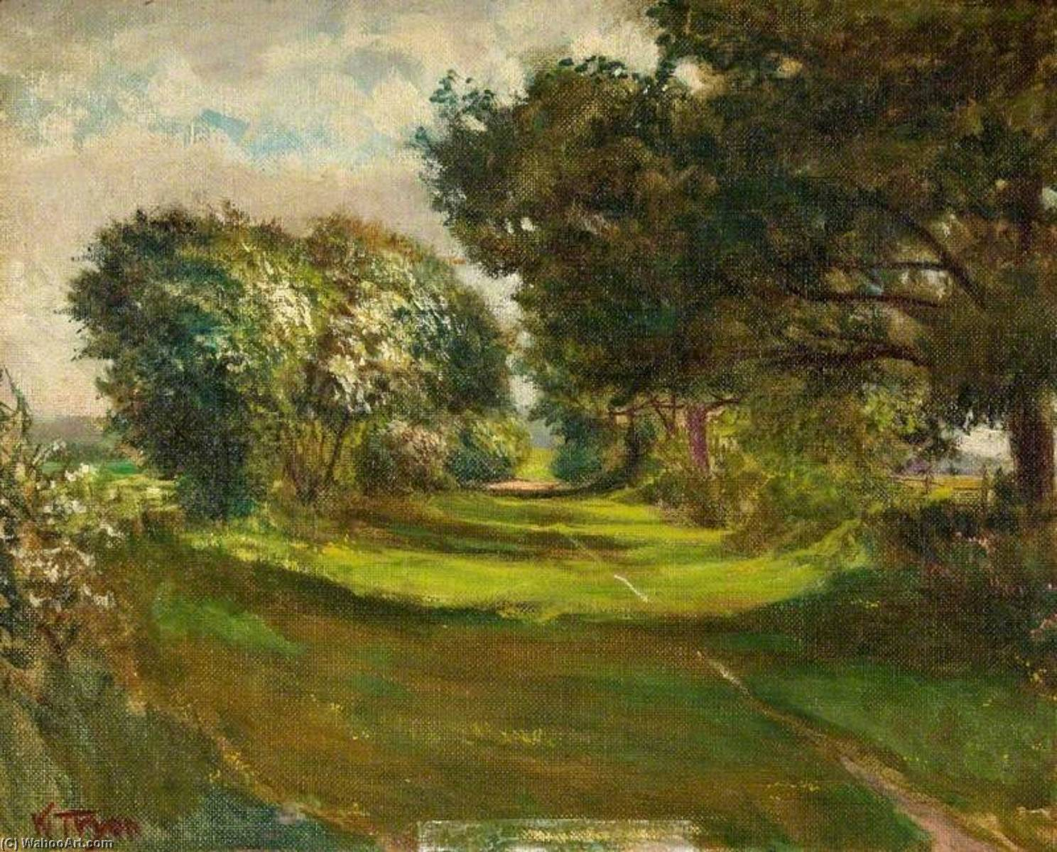 Order Art Reproductions | Hawthorn Lane, Old Icknield Way, 1910 by Kate Allen Tryon | WahooArt.com