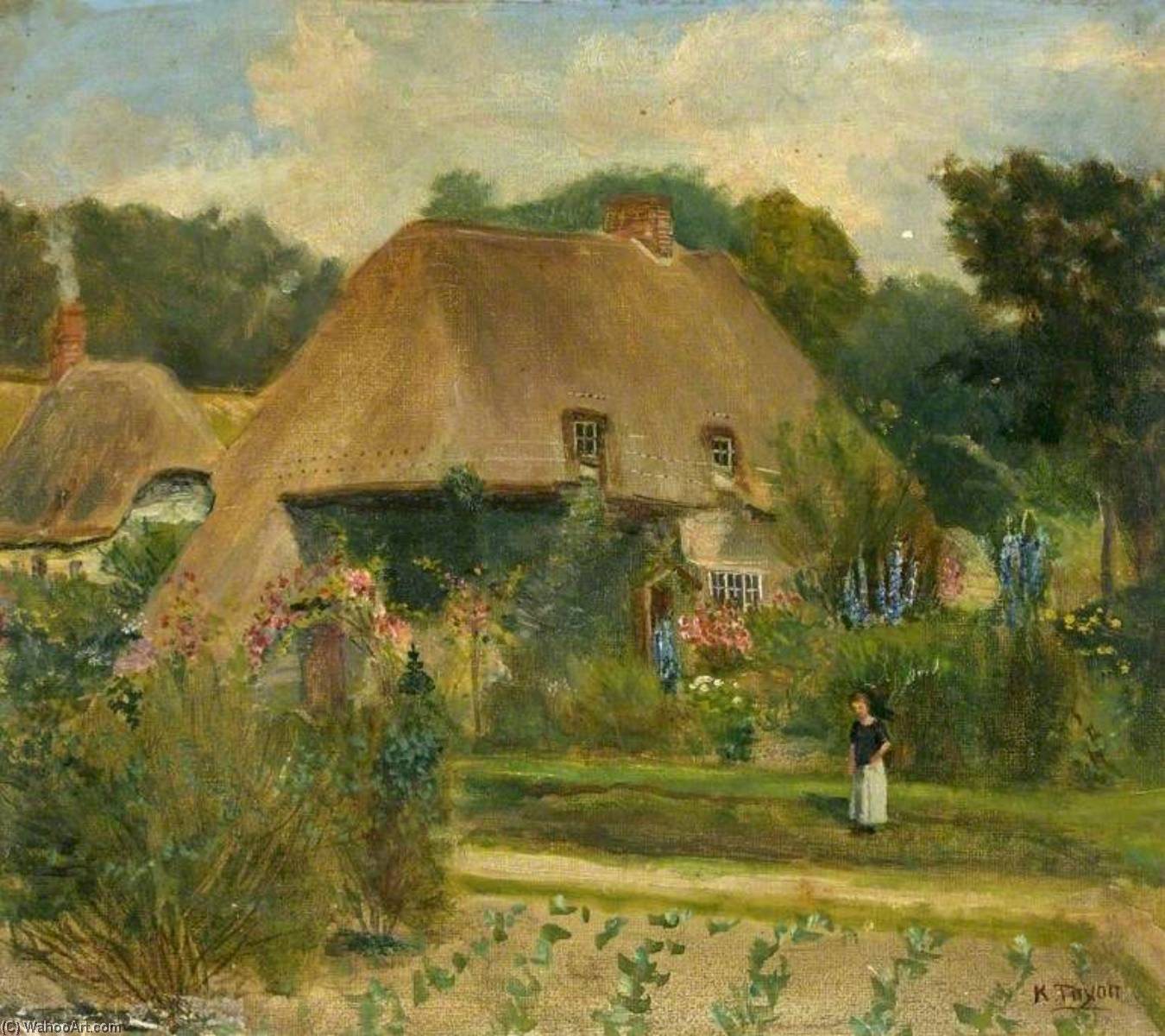 Home of the Tenants of Burderop Park, Wiltshire, 1910 by Kate Allen Tryon | Paintings Reproductions Kate Allen Tryon | WahooArt.com