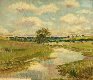 Kate Allen Tryon - The River Kennet as it Crosses the Marlborough Road, Wiltshire