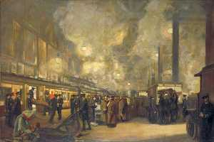 John Hodgson Lobley - Charing Cross Station Detraining Wounded by the British Red Cross Society and Order of St John
