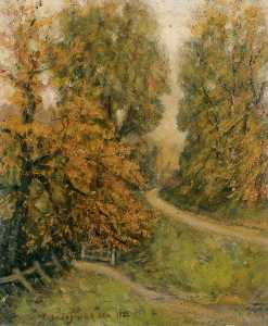 Henry Childe Pocock - Lawrence Street in Autumn, Mill Hill
