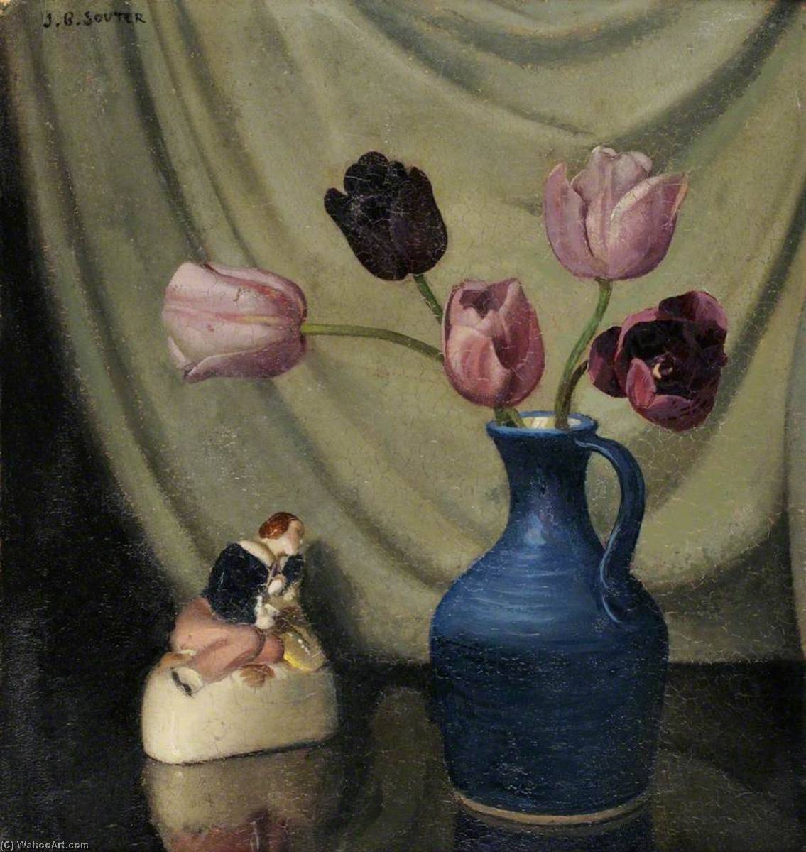 Still Life with Purple Tulips and a Figurine by John Bulloch Souter | Famous Paintings Reproductions | WahooArt.com