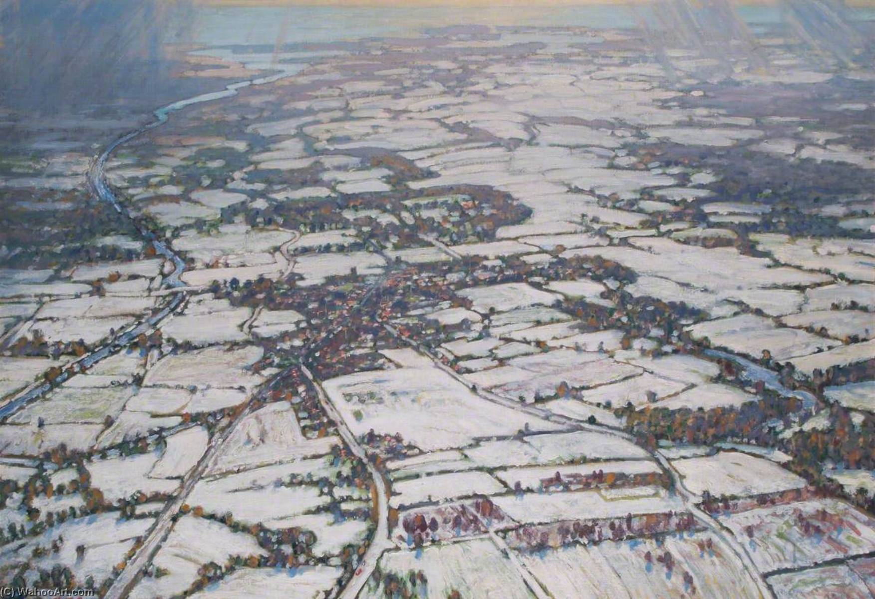 View from an Airship, Oil On Canvas by Alfred Egerton Cooper