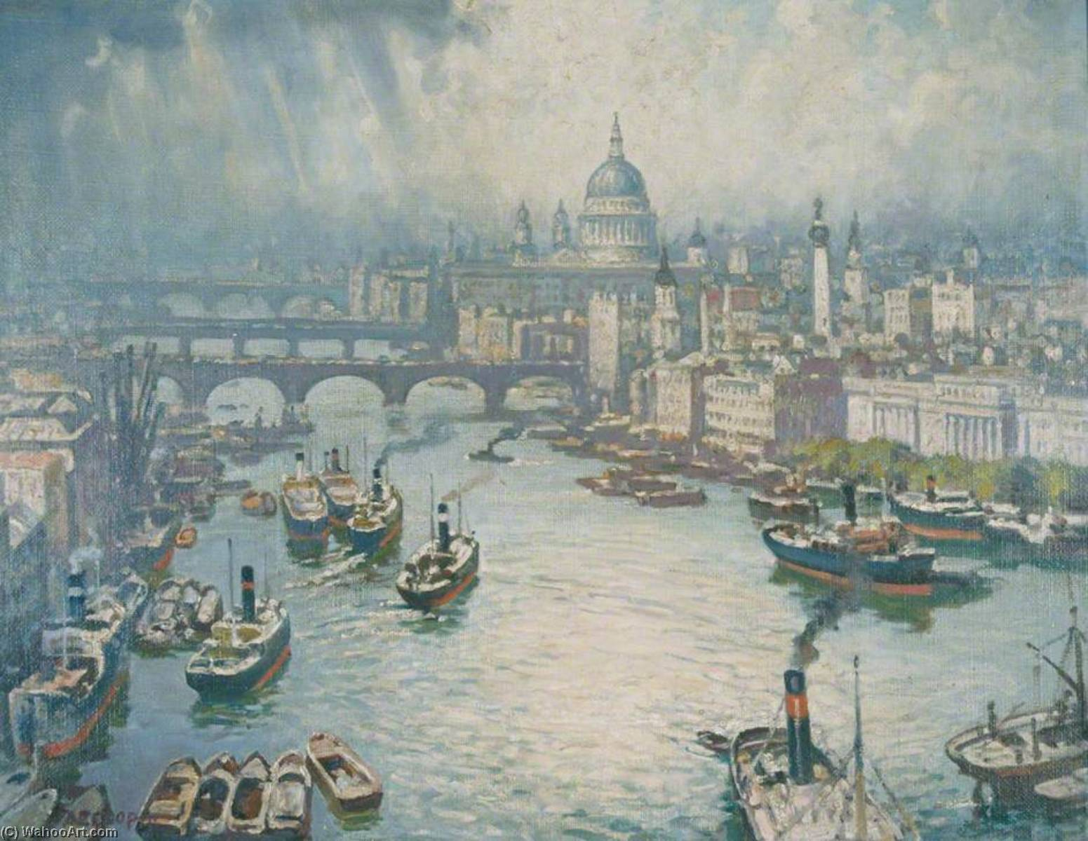 The Pool of London, Oil On Canvas by Alfred Egerton Cooper