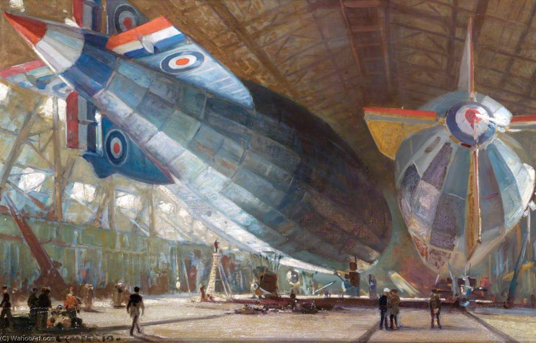 R.34 and R.29 in the Shed at East Fortune, Oil On Canvas by Alfred Egerton Cooper