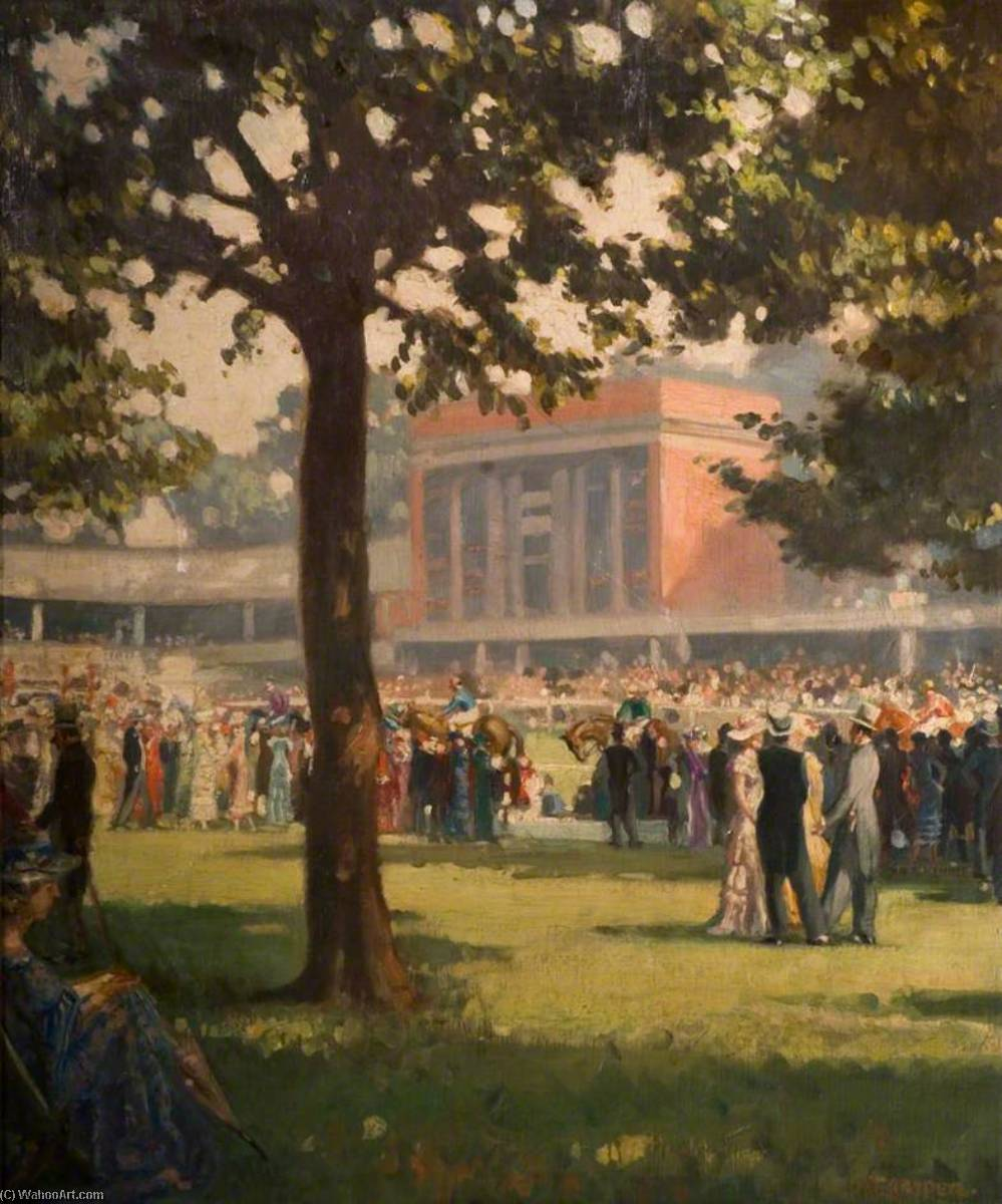 Ascot, the Paddock, Oil On Canvas by Alfred Egerton Cooper