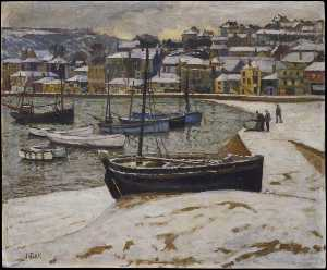 John Anthony Park - Snow in the Harbour of St Ives
