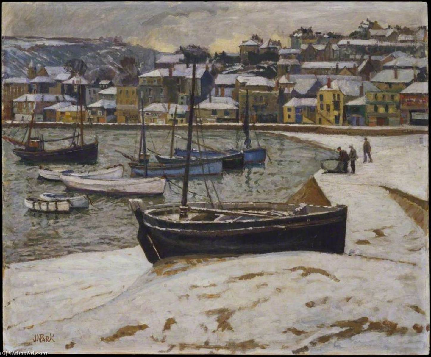 Snow in the Harbour of St Ives, 1940 by John Anthony Park | Painting Copy | WahooArt.com