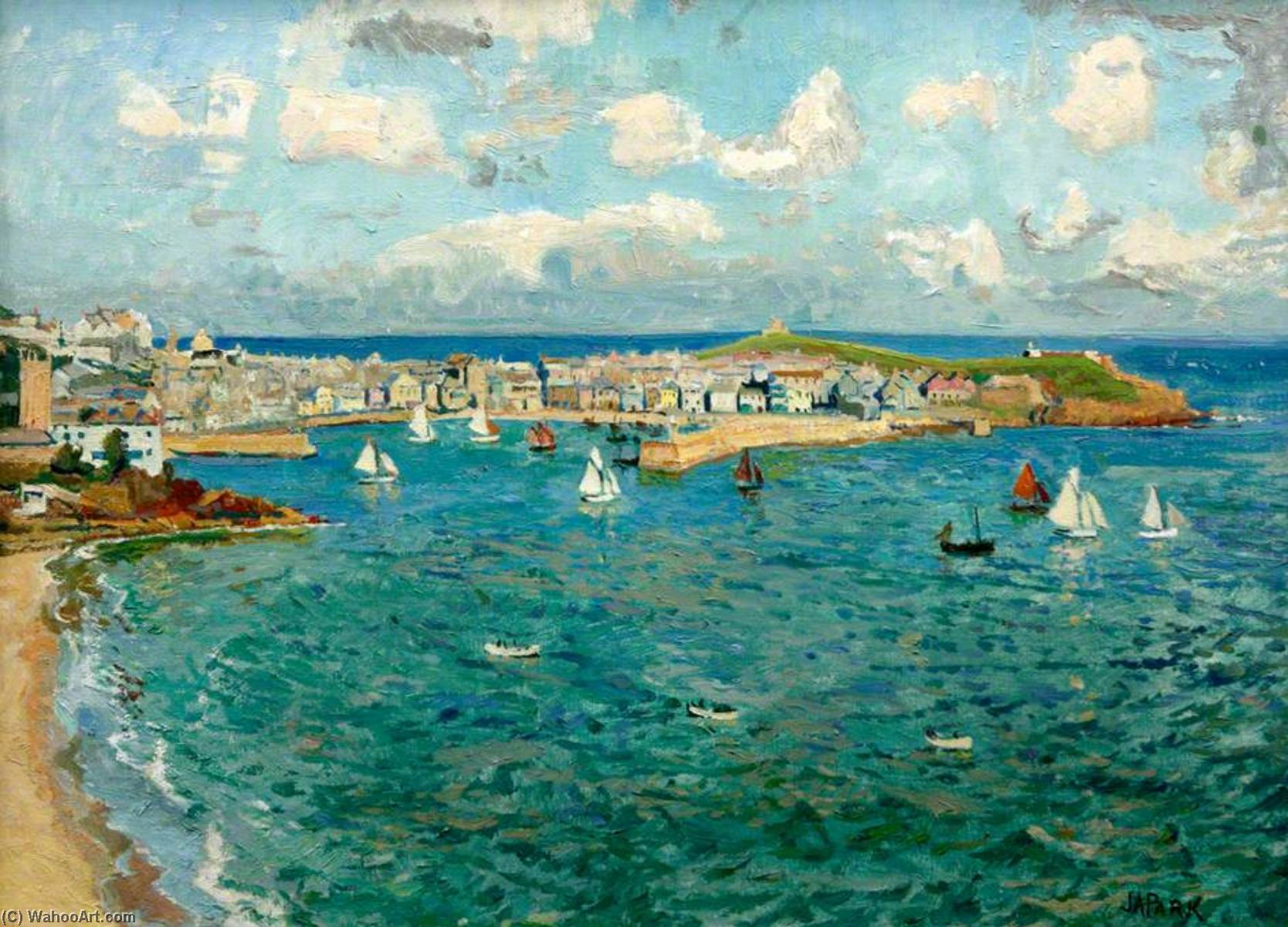 St Ives Harbour (to commemorate the visit of HMS `Howe` to St Ives, July 1947) by John Anthony Park | Museum Quality Copies John Anthony Park | WahooArt.com
