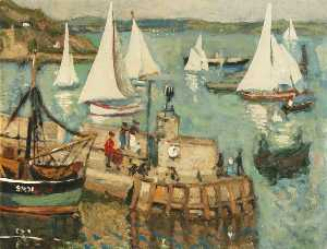 John Anthony Park - Harbour Scene with Yachts