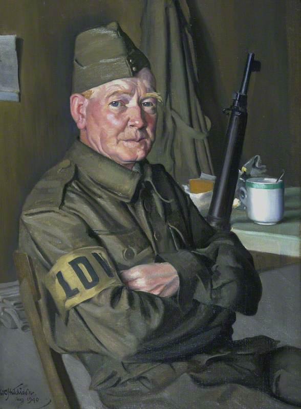 Walter Rankin (active 1940), Local Defence Volunteer ('Home Guard'), Oil On Canvas by William Oliphant Hutchison