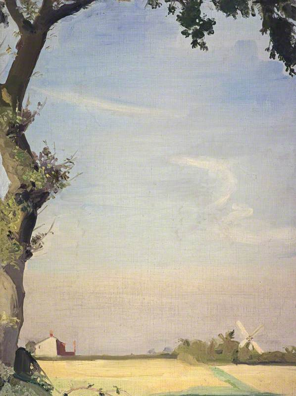 Oak Tree and Windmill by William Oliphant Hutchison | Painting Copy | WahooArt.com