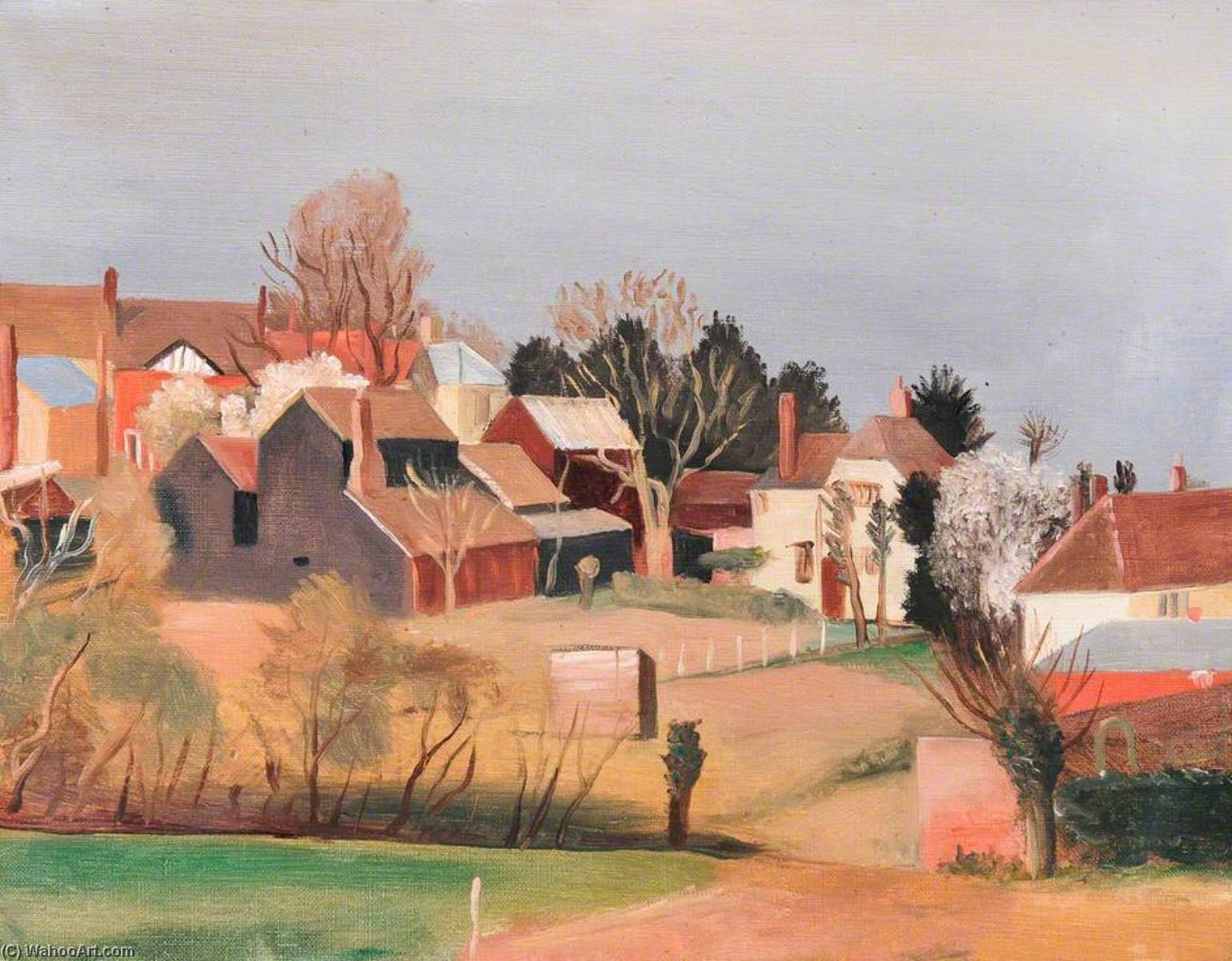 Great Bardfield, Oil On Canvas by John Arthur Malcolm Aldridge