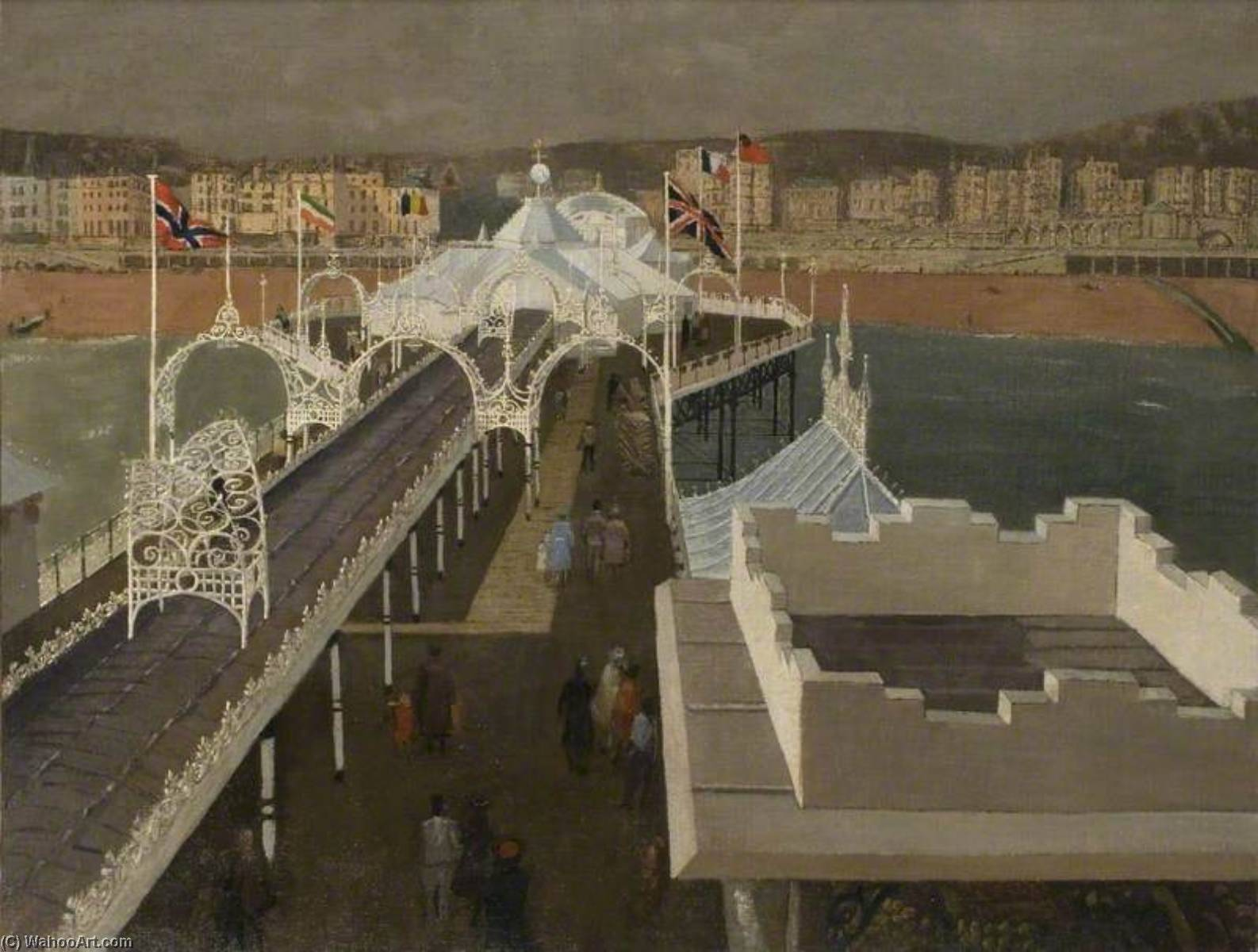 Palace Pier, Brighton, East Sussex, 1950 by John Arthur Malcolm Aldridge | Museum Quality Reproductions | WahooArt.com