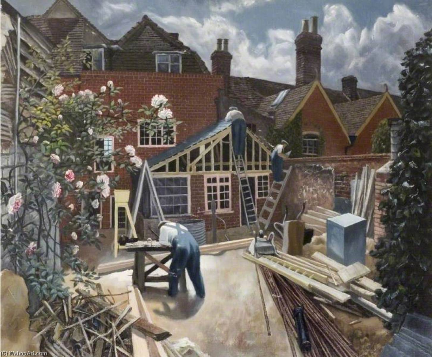 Builders at Work, Brick House, Great Bardfield, Oil On Canvas by John Arthur Malcolm Aldridge