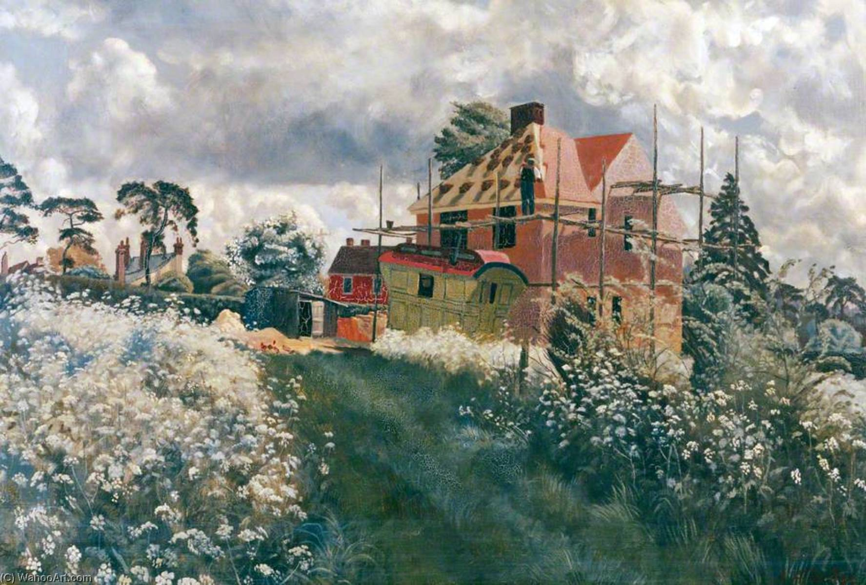 Roofing a New House, Oil On Canvas by John Arthur Malcolm Aldridge