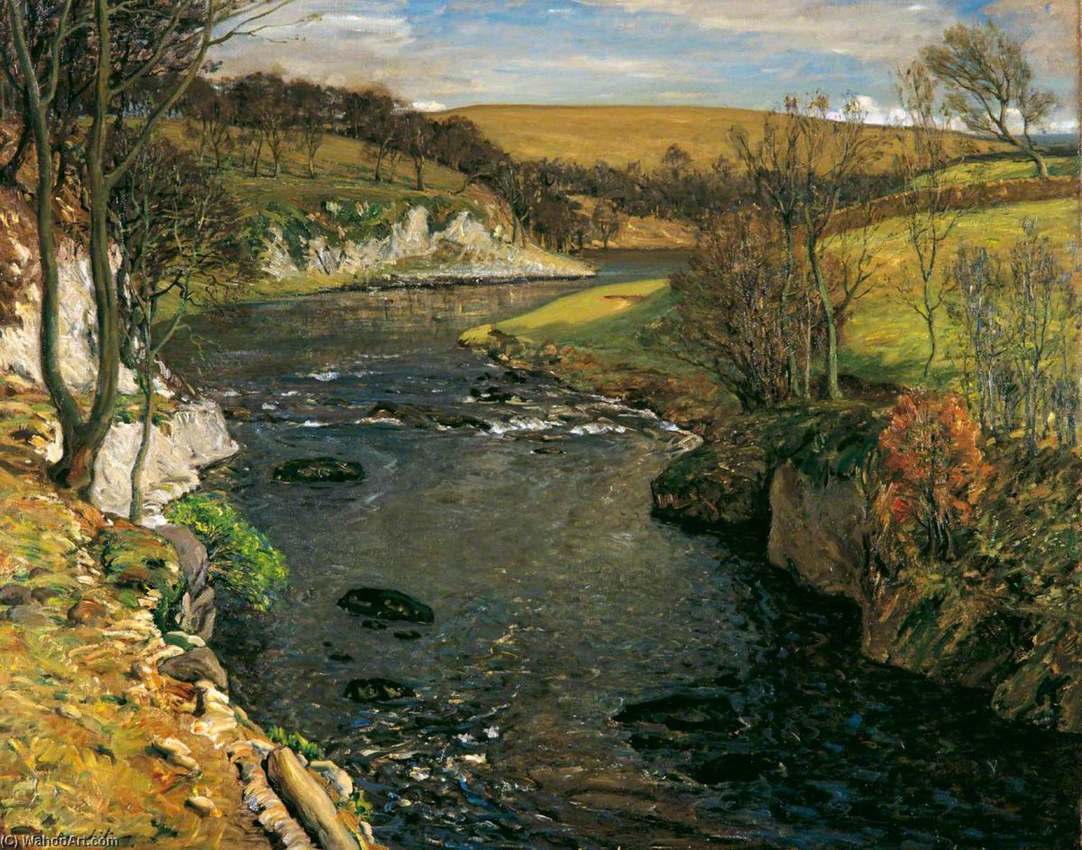 The River, Oil On Canvas by Reginald Grange Brundrit