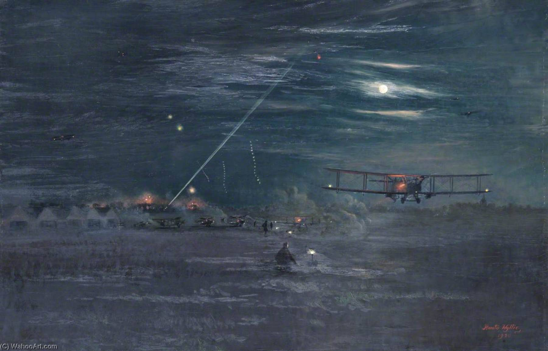 Night Bombers Getting Off from Trezennes Aerodrome, 1917, Oil On Canvas by Harold Wyllie