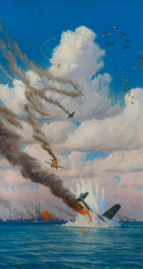 Air and Naval Battle off Spurn Head, Oil On Canvas by Harold Wyllie