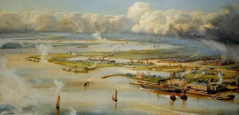 Tilbury, Essex, Oil On Canvas by Harold Wyllie