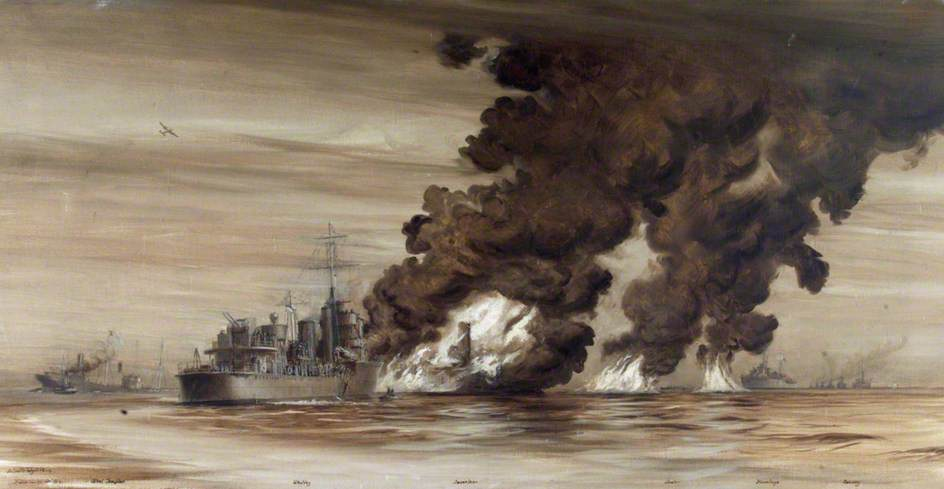 HMS 'Whitley' Coming to the Rescue of 'MV Inverlane', Badly Damaged and on Fire after the Convoy Entered a Mine Field in the North Sea, 14 December 1939, Oil On Canvas by Harold Wyllie
