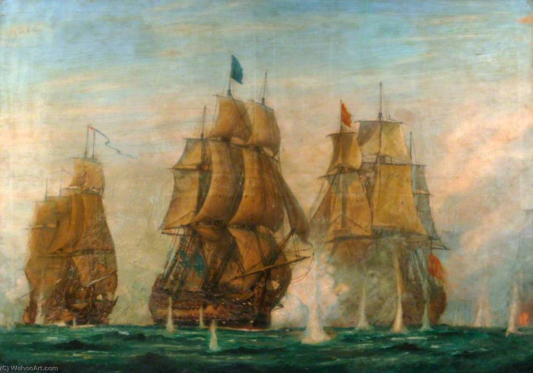 The Battle of St Vincent, 14 February 1797, Oil On Canvas by Harold Wyllie