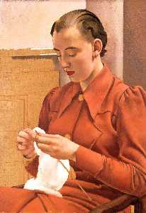 Jesse Dale Cast - Woman in a Red Dress Knitting