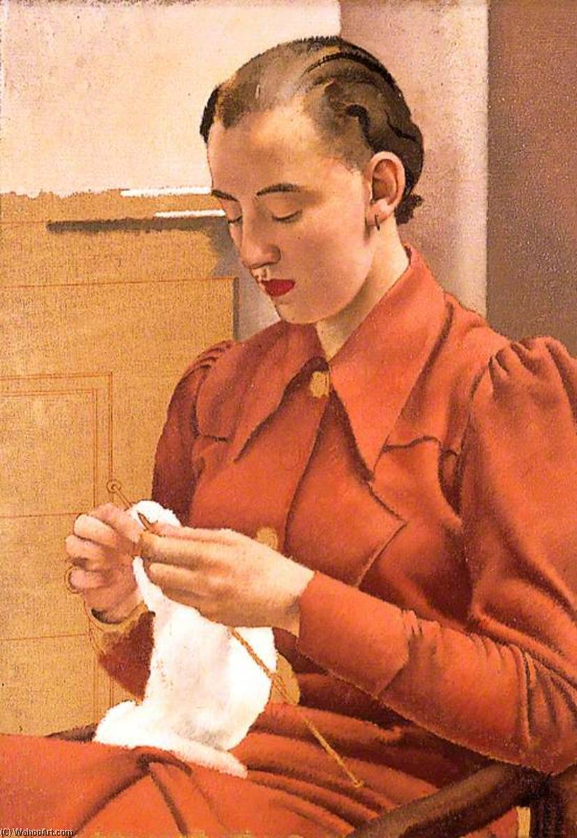 Woman in a Red Dress Knitting, 1936 by Jesse Dale Cast | Paintings Reproductions Jesse Dale Cast | WahooArt.com