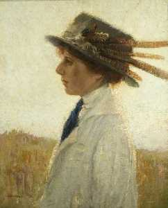 Ernest Herbert Whydale - Lady in a Feathered Hat