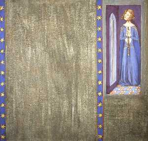 Ernest William Tristram - Reconstruction of Medieval Mural Painting, Possibly Queen Philippa or Daughter