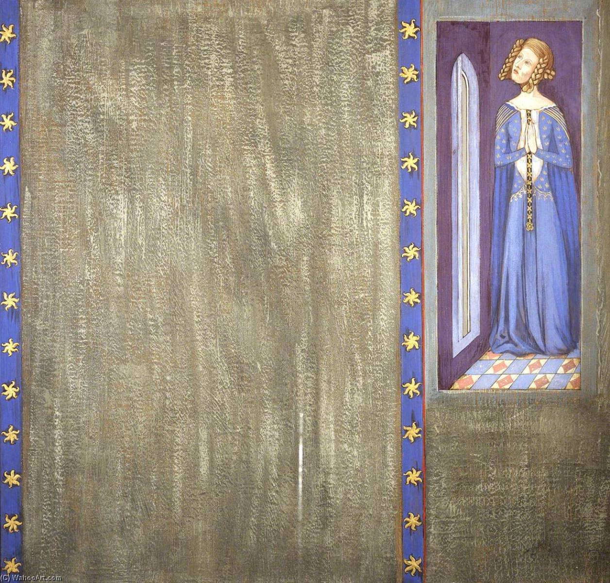 Reconstruction of Medieval Mural Painting, Possibly Queen Philippa or Daughter, 1927 by Ernest William Tristram | Museum Quality Copies Ernest William Tristram | WahooArt.com