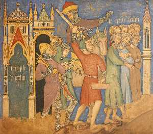 Ernest William Tristram - Reconstruction of Medieval Mural Painting, Captivity of Jeholachin King of Israel