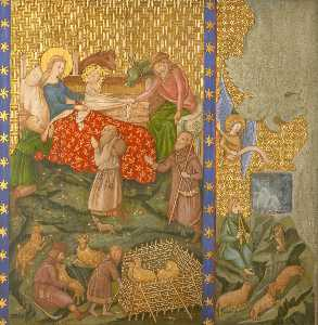 Ernest William Tristram - Reconstruction of Medieval Mural Painting, Adoration of the Shepherds