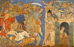 Ernest William Tristram - Reconstruction of Medieval Mural Painting, Battle of Judas Maccabeus with Timotheus and the Fall of Maspha