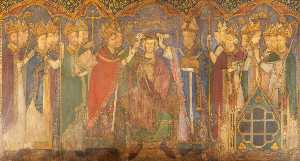 Ernest William Tristram - Reconstruction of Medieval Mural Painting, Coronation of Edward the Confessor