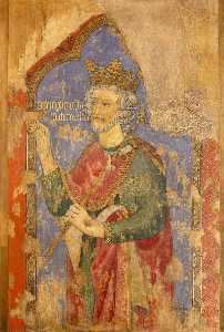Ernest William Tristram - Reconstruction of Medieval Mural Painting, Saint Edward the Confessor