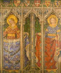 Ernest William Tristram - Reconstruction of Medieval Mural Painting, Two Angels