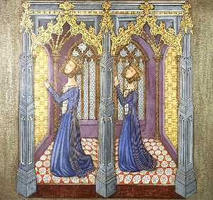 Ernest William Tristram - Reconstruction of Medieval Mural Painting, Queen Philippa-s Daughters Kneeling in Prayer