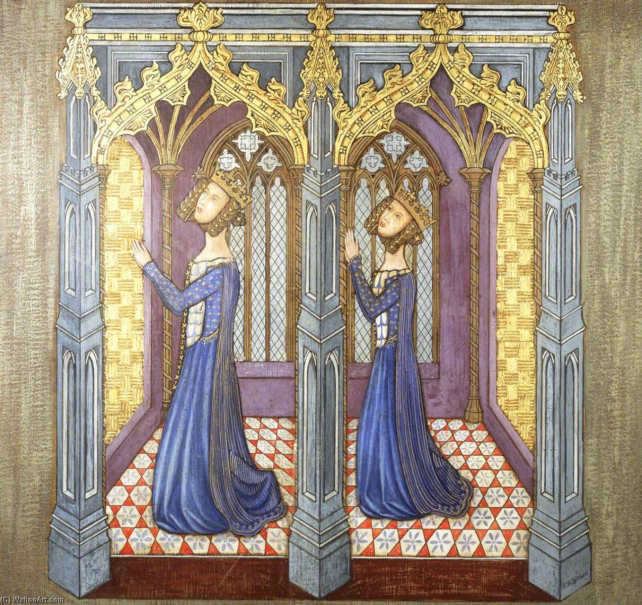 Order Paintings Reproductions | Reconstruction of Medieval Mural Painting, Queen Philippa`s Daughters Kneeling in Prayer, 1927 by Ernest William Tristram | WahooArt.com