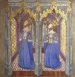 Ernest William Tristram - Reconstruction of Medieval Mural Painting, Possibly Queen Philippa with Daughter