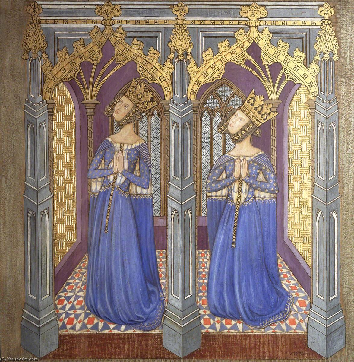 Reconstruction of Medieval Mural Painting, Possibly Queen Philippa with Daughter, 1927 by Ernest William Tristram | Museum Art Reproductions Ernest William Tristram | WahooArt.com