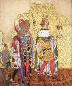 Ernest William Tristram - Reconstruction of Medieval Mural Painting, King with a Septre Casket and Attendants