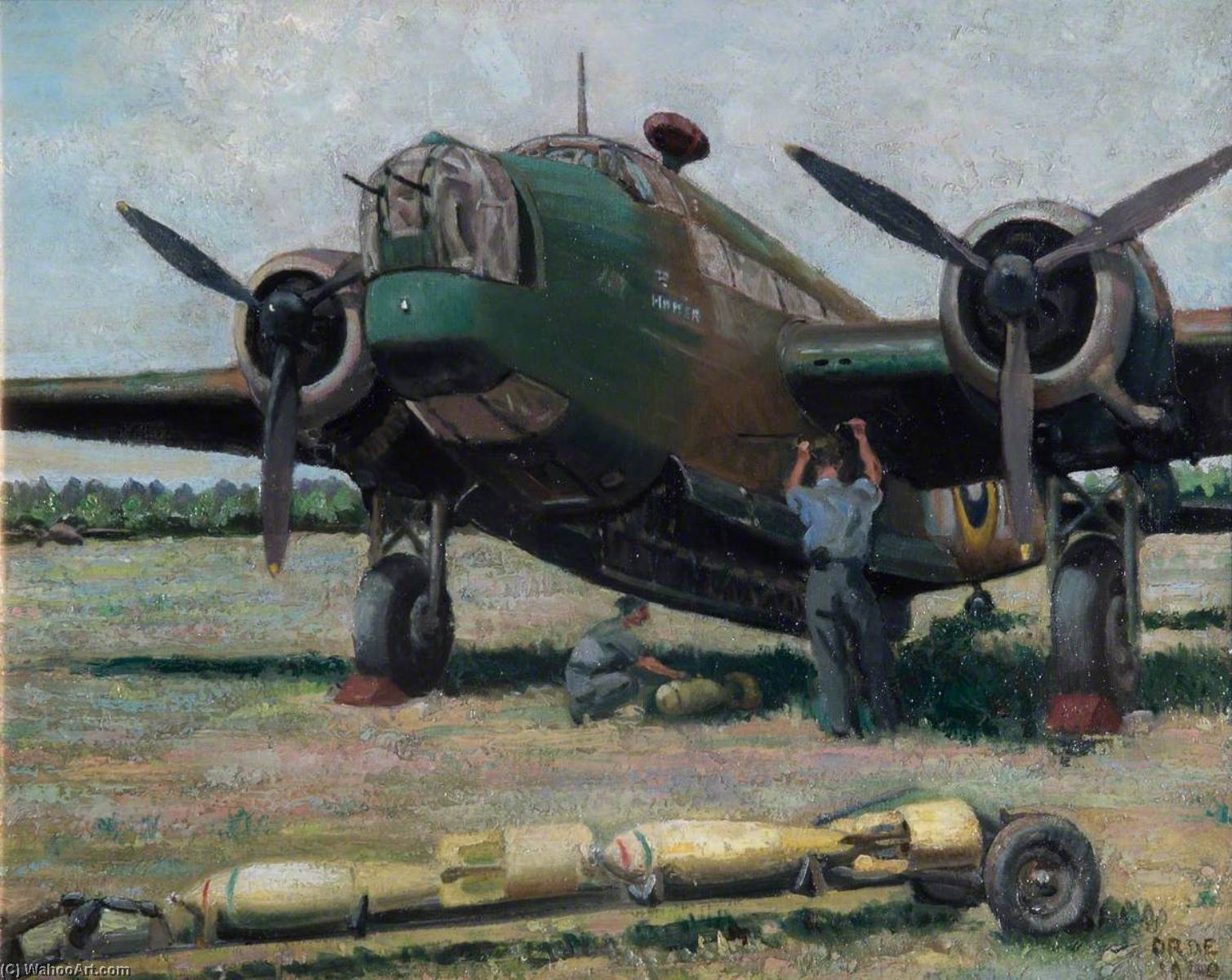Bombing up a Wellington, Oil On Canvas by Cuthbert Julian Orde