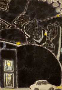 Ernest Zobole - Landscape with Cars at Night
