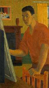 Ernest Zobole - Self Portrait Painting in an Interior