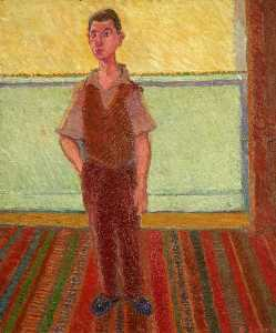 Ernest Zobole - Self Portrait Standing on a Striped Carpet